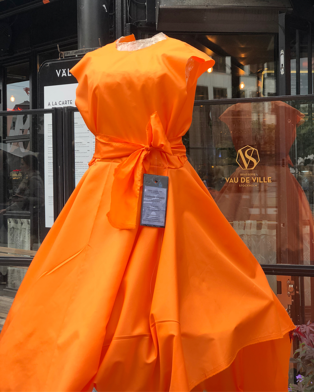 Orange toile-dress for Fashion Speaks project